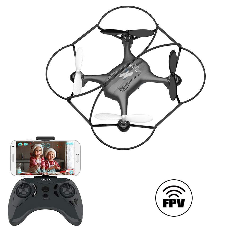ATOYX AT-96 Drone Cámara HD, RC Mini Drone, 3D Flips, Modo sin Cabeza con App WiFi FPV 2.4Ghz, Altitud Hold, Una Tecla de Despegue y Aterrizaje de Gravedad, Año, Negro