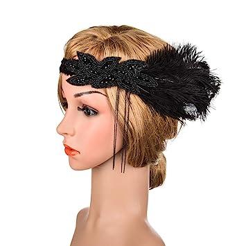 Schwarze Feder Stirnband Frisur Kopfbedeckung für Frauen Party Kostüm