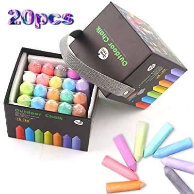 OBEST Childrens Graffiti Dust-Free Chalk, 20pcs Color Childrens Crayons Rough Chalk Non-Toxic Dustless Outdoor Dustless Chalk Set with a Bucket Blackboard: Toys & Games