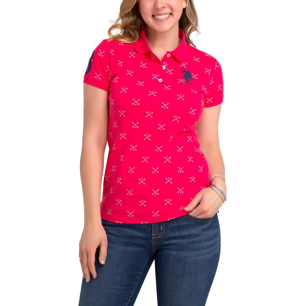 U.S. Polo Assn. Womens Mallet Printed Pique Polo Shirt with Big Pony Jordache Enterprises Inc. 214665-Parent