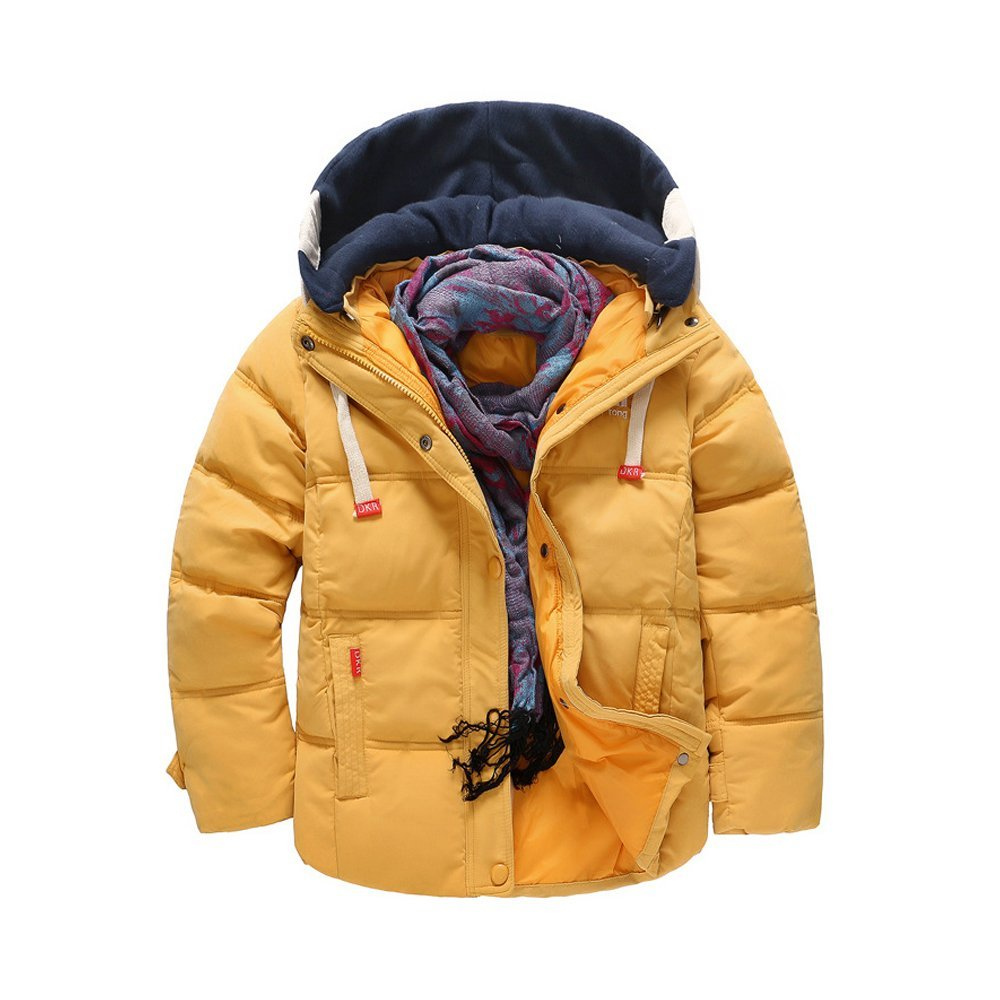 OCHENTA Boys' Hooded Winter Quilted Puffer Jacket, Parka Down Coat Yellow Tag 120-43''(4T) by OCHENTA (Image #1)