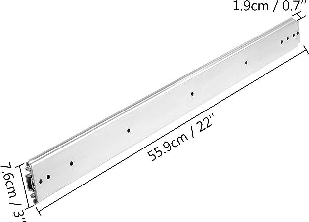 Rieles para Cajones 227 kg VEVOR Gu/ías para Cajones 86,4 cm Carriles para Cajones Correderas para Cajones Gu/ías Laterales para Cajones con Rodamiento de Bolas Gu/ías Telesc/ópicas para Cajones Plata