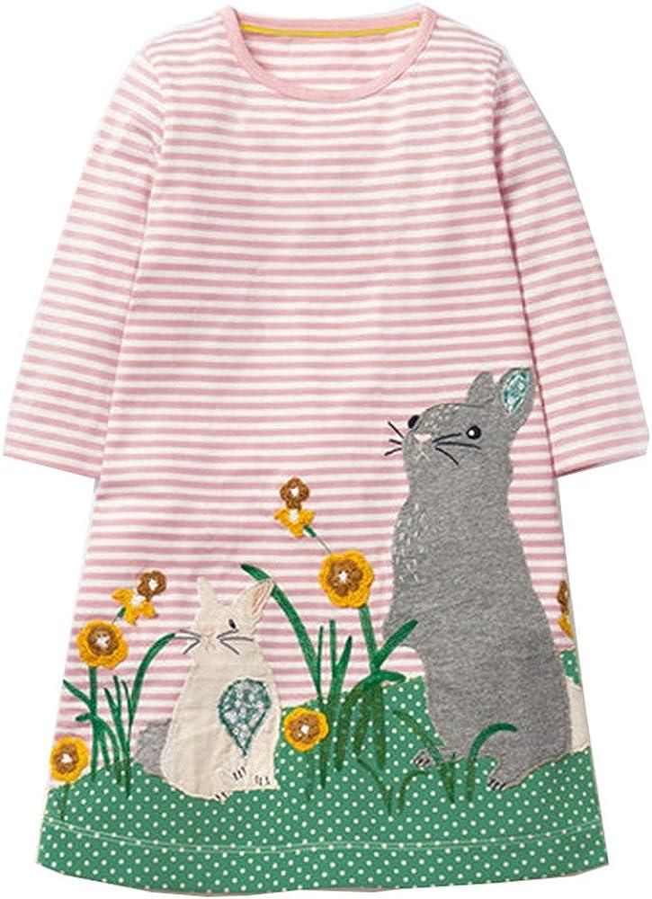 ShopINess Lang/ärmeliges M/ädchenkleid mit H/äschen