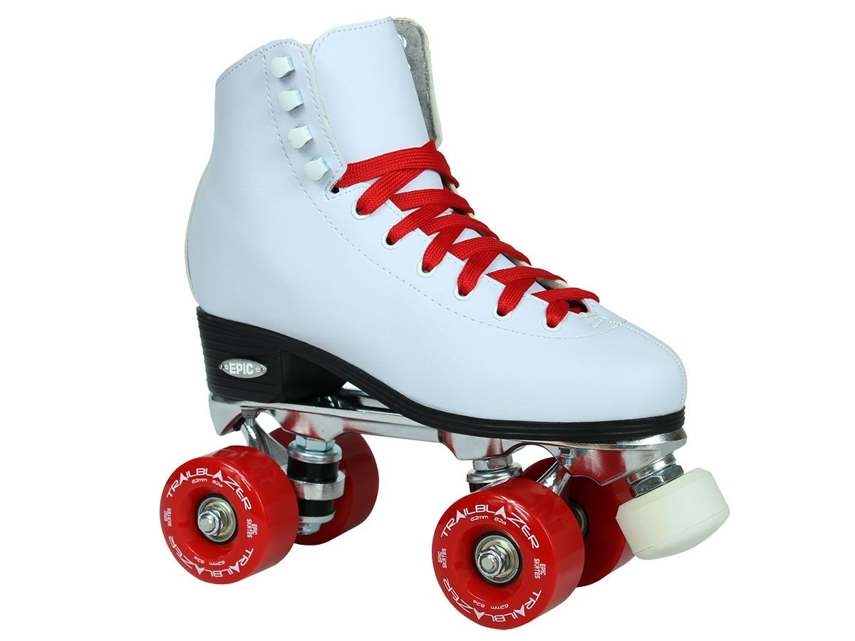 Epic Skates 2016 Epic Classic 5 High-Top Quad Roller Skates with 赤 Wheels, 白い by Epic