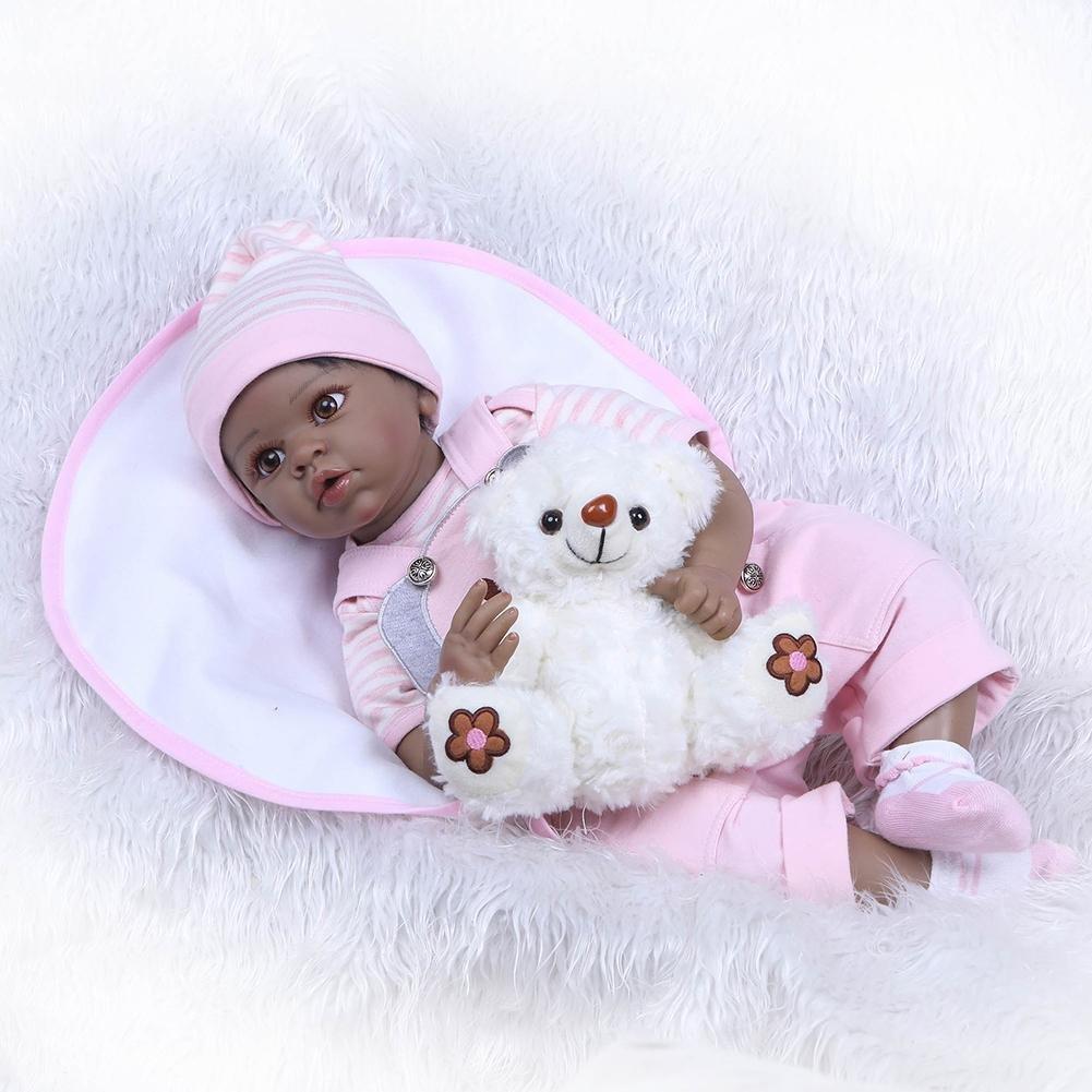 chinatera NPK Cute 22inch Soft Silicone Reborn Baby Doll Imitation Newborn Girl Toys by chinatera (Image #4)