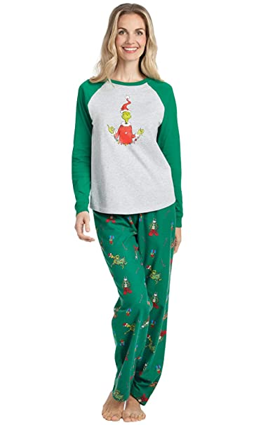 Christmas Pajamas Womens.Pajamagram Grinch Pajamas For Women Cotton Christmas Pajamas Gray