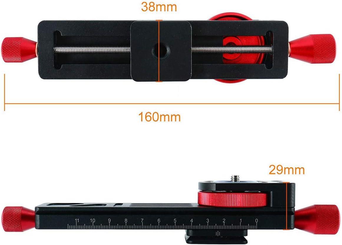 TONGXU W-160 Soporte de C/ámara Universal Riel Deslizante Metal de Enfoque Macro Close-up Placa 160mm con Cabeza de Tornillo 1//4 para C/ámaras Arca-Swiss RRS