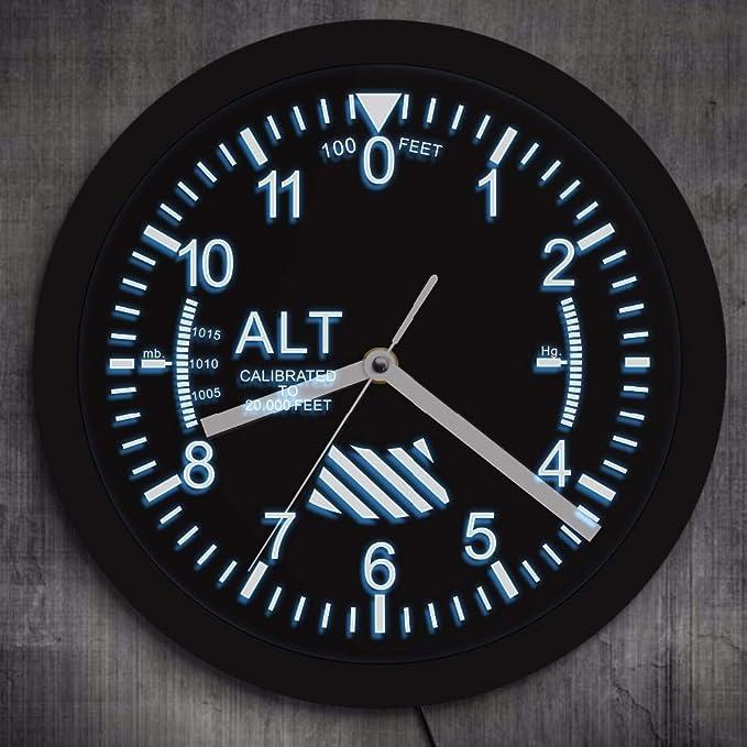 Reloj neón para la pared altímetro avión