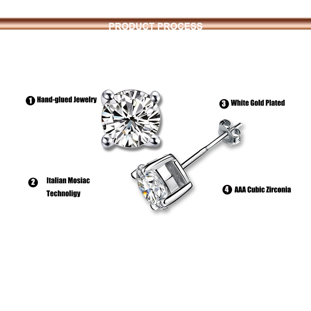 Platinum Plated Round Cubic Zirconia Simple Stud Diamond Earrings for Sensitive Ear,Come with Back