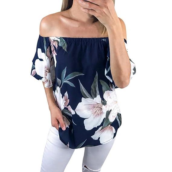 Ropa Camisetas Mujer, Camisas Mujer Verano Elegantes Hombro Floral Impreso Casual Tallas Grandes Camisetas Mujer
