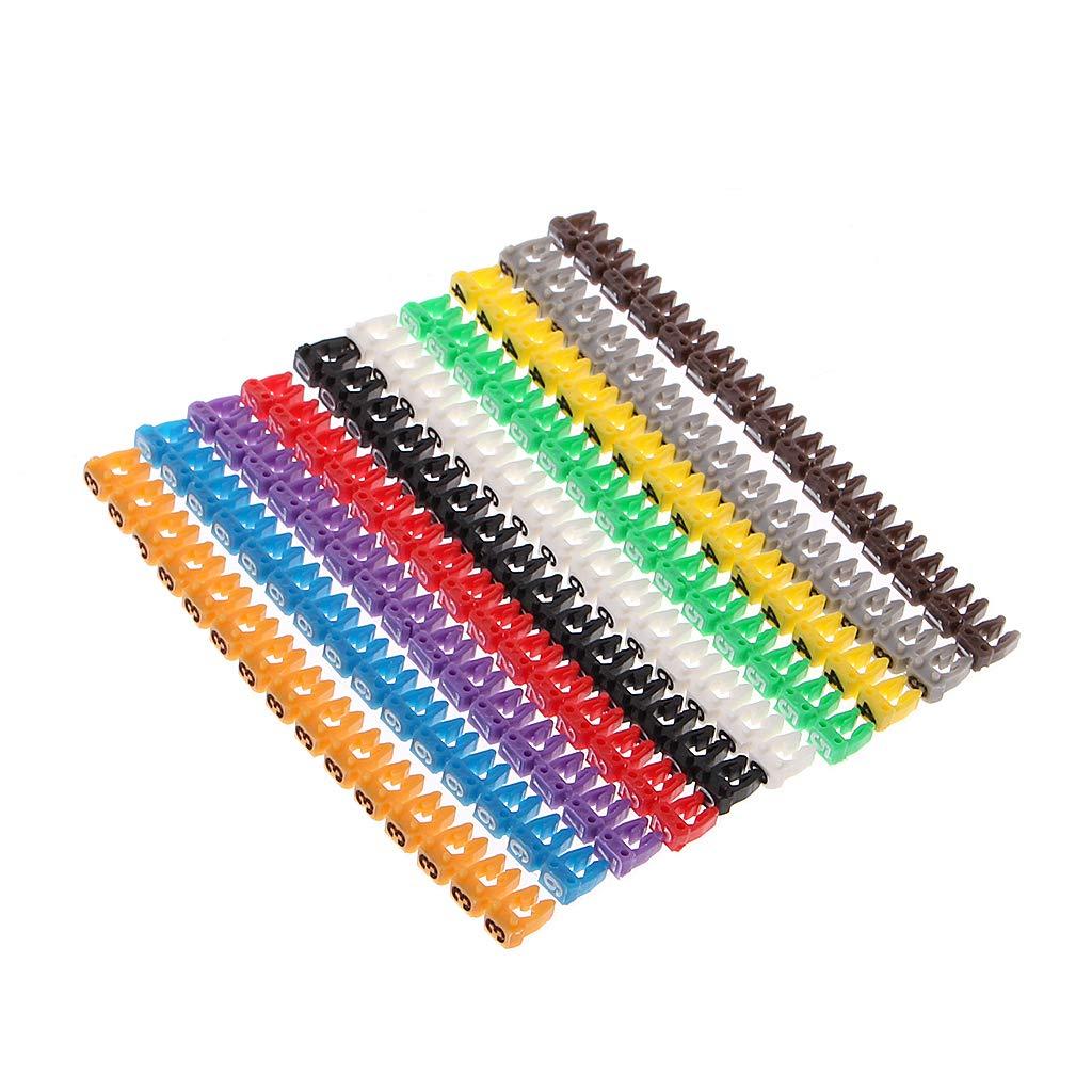 BIlinli /Étiquettes color/ées de num/éro de marqueur de C-Type de 150 marqueurs de c/âble de PCs pour Le Fil de 2-3mm