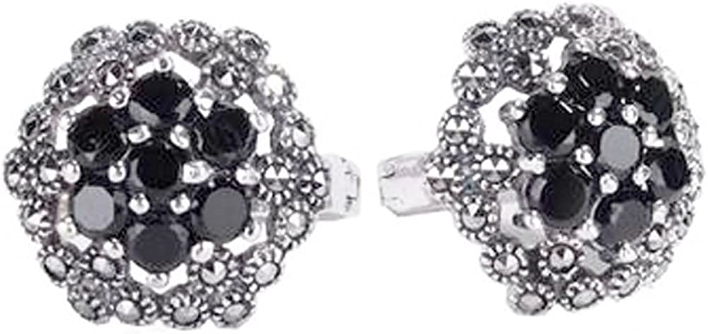 Ángel de Jade de plata tailandés 925 joyas de plata y ónix negro Marcasita pendientes del perno prisionero