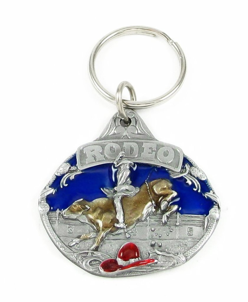 Siskiyou Automotive KR148E Metal Key Chain Rodeo Bull Riding Enameled Details