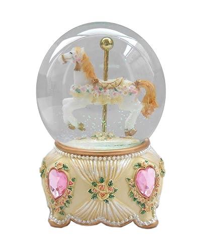 lightahead christmas musical carousel horse 100mm snow globe water ball in polyresin brown - Christmas Musical Snow Globes
