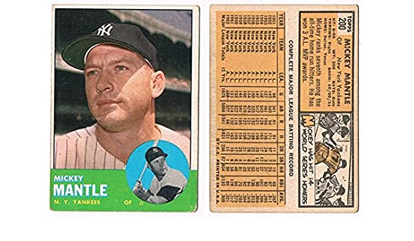 Mickey Mantle 1963 Topps Baseball Card At Amazons Sports
