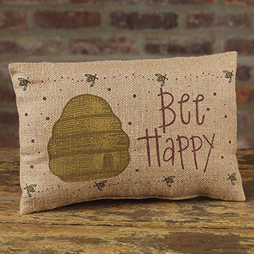 Bee Happy Beehive 12 x 8 Burlap Decorative Throw Pillow ()