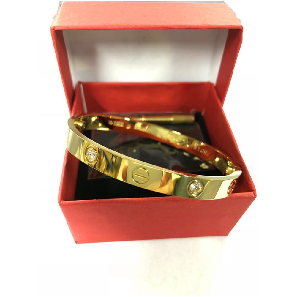 Y.S.M.Y CZ Stone Love Bracelet-Only I Can Unlock Your Heart Bracelets (Gold/6.5IN, 16CM) by Y.S.M.Y (Image #4)