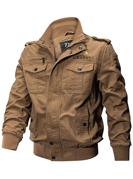 Amazon.com: Sefon - Chaqueta militar de algodón para hombre ...