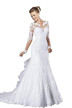 01a48a67cb15 Angel Formal Dresses Women's V Neck Applique Mermaid Chapel Train Wedding  Dresses (2, Ivory
