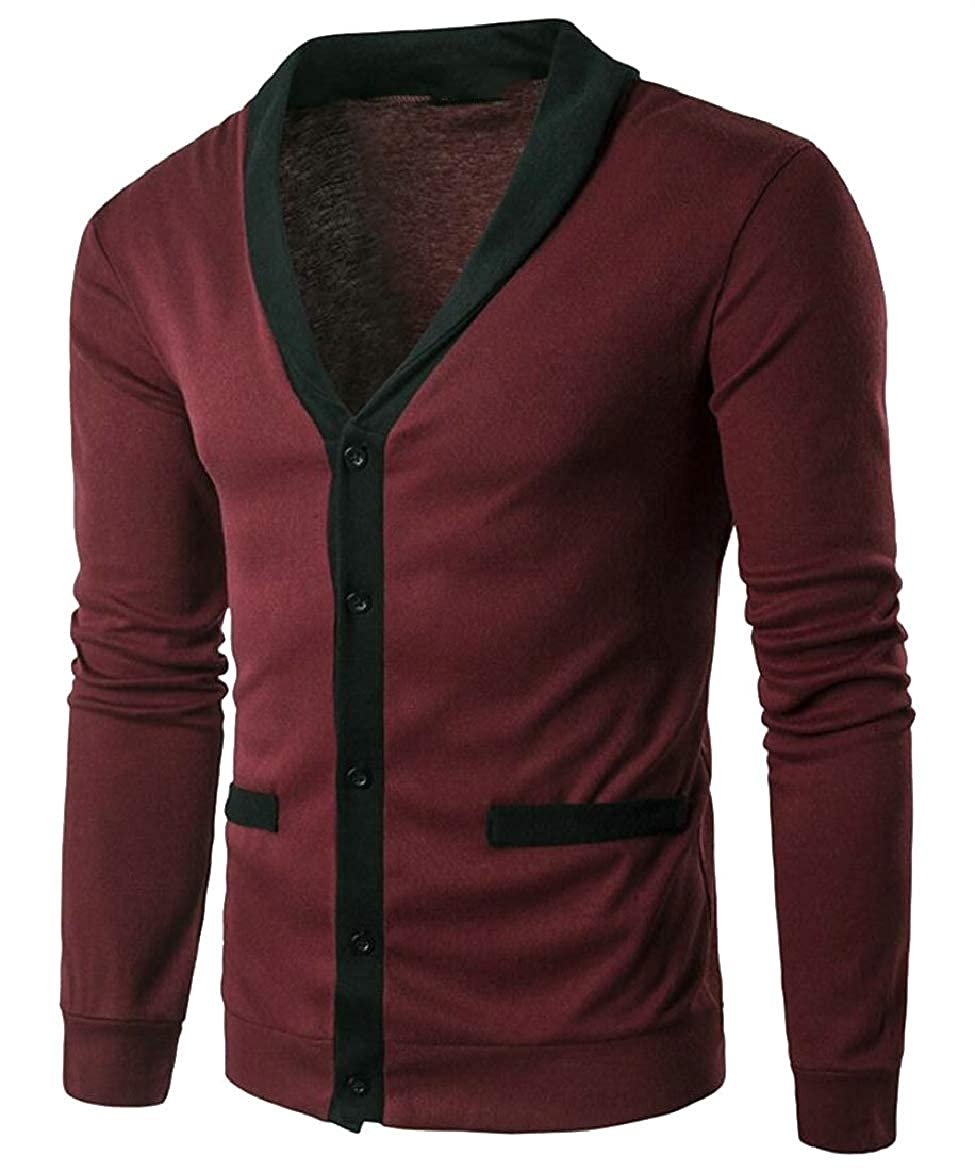 LEISHOP Men Slim Fit Cardigan Sweater Casual V Neck Button Down Knitwear