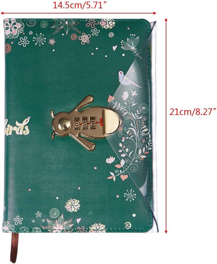 MARSACE Unisex Password Taccuino Impermeabile Diario Di Viaggio Vintage PU Bloc Notes Bianche Quaderno con Porta Penna Schede Slot Journal A5 100 Fogli 20x13cm Marrone