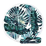 KIMODE Thick Round Beach Towel,Large Microfiber Soft Terry Circle Beach Towel Blanket With Cotton Tassels Super water Absorbent 59 Inches Oversized Picnic Carpet Yoga Mat,Palm Leaf