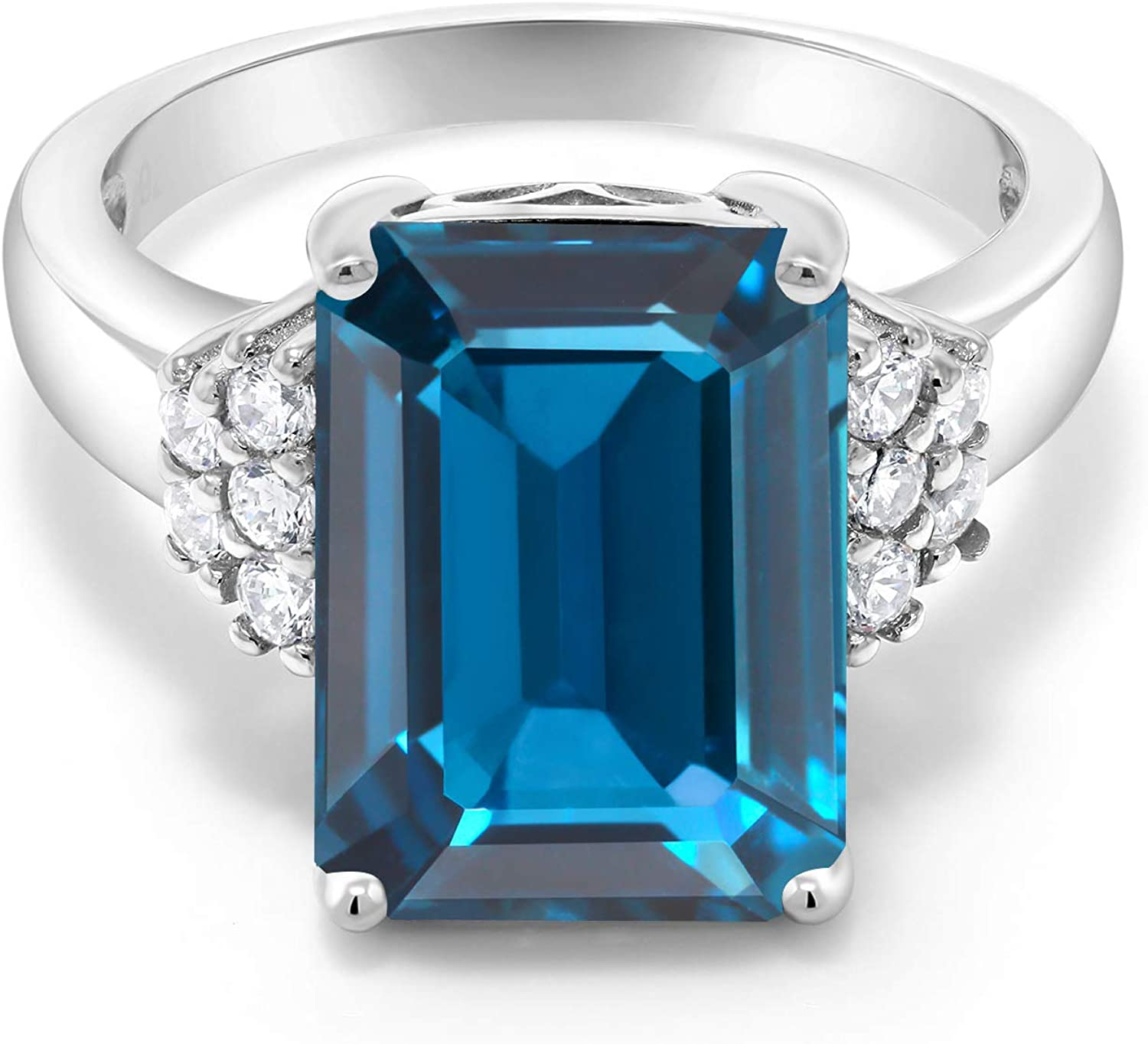 Gem Stone King 925 Sterling Silver London Blue Topaz Women's Engagement Ring 8.80 Ct Emerald Cut 14X10MM Gemstone Birthstone Available in size 5, 6, 7, 8,