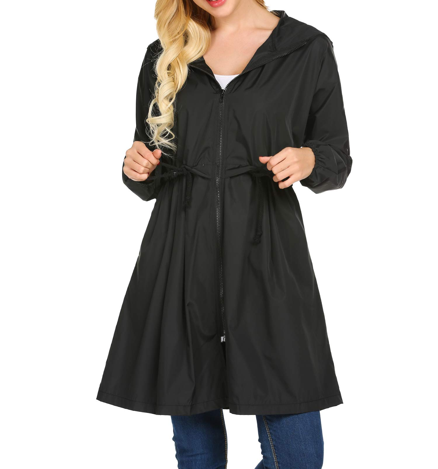 Mofavor Women's Hooded Long Sleeve Lightweight Waterproof Rain Jacket Raincoat Black M