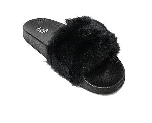 Kali Footwear Women's Flip Flop Faux Fur Soft Slide Flat Slipper Limit(Black,  ...