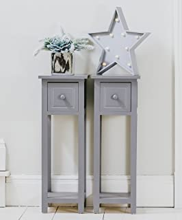 Pair Of Bedside Telephone Tables With Drawer Grey Wooden   Fully Assembled