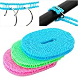 TianNorth®Pack of 2 Clotheslines 5 meters long 16.4FT Portable Windproof Clothesline for Outdoor Indoor Home Travel Drying Random Color