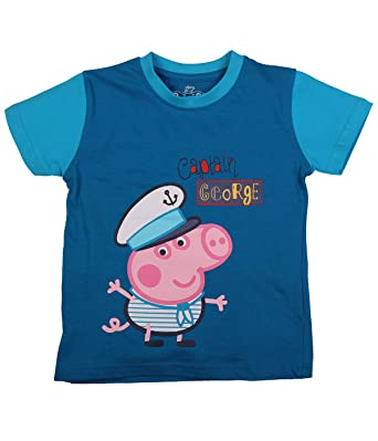 ab915aef Peppa Pig Captain George with Bird Blue T-Shirt for Boys: Amazon.in ...