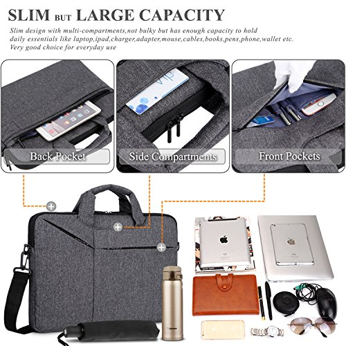 Laptop Bag,BRINCH Slim Water Resistant Laptop Messenger Bag Portable Laptop Sleeve Case Shoulder Bag Briefcase Handbag with Strap for Up to 15.6 Inch Laptop/NoteBook Computer Men/Women,Dark Grey by BRINCH (Image #1)