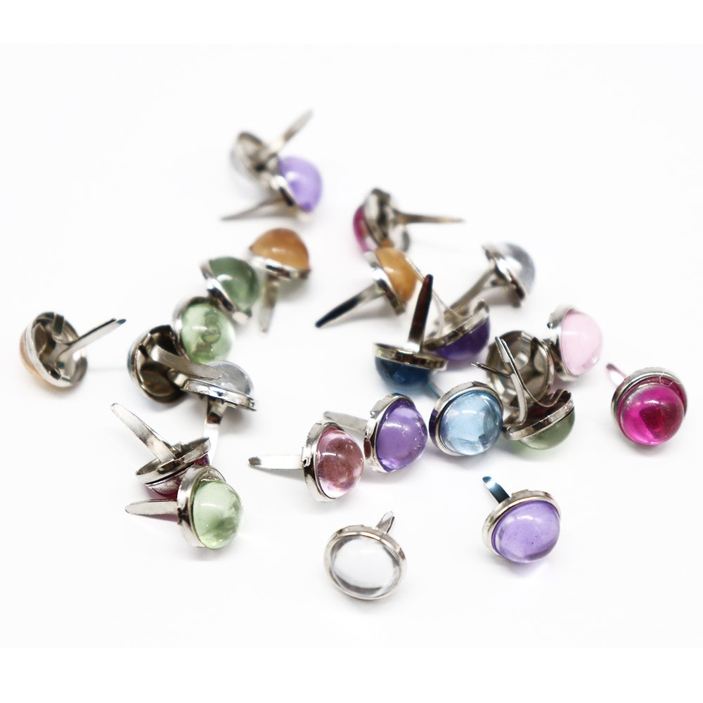 48pcs Mixed 7 Colors 8mm Scrapbooking Rhinestone Brads Paper Fasteners (48pcs) Sorrento Crafts 015001031
