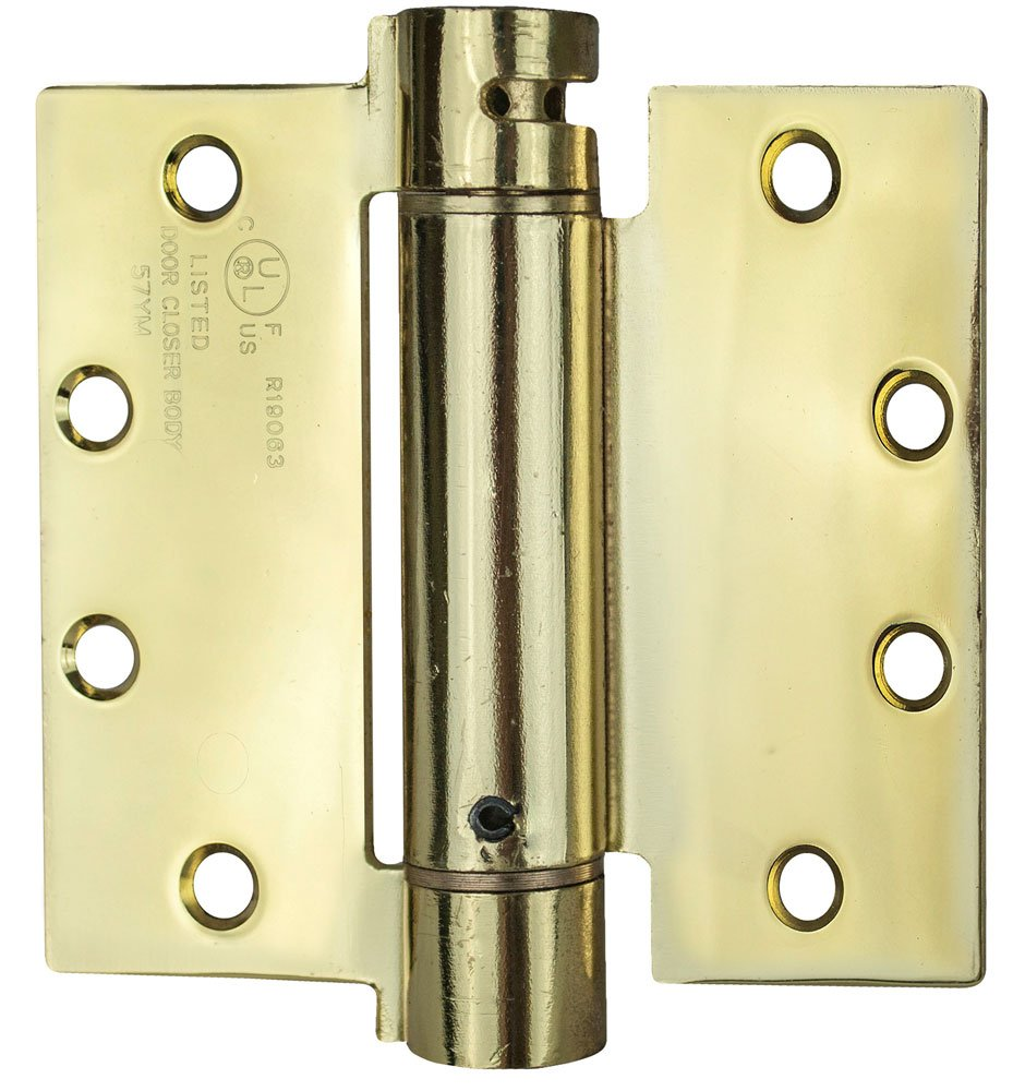 Global Door Controls CPS4540-US3 Cps Series Spring Hinge Imperial USA 4.5 x 4.0 In. Bright Brass Full Mortise Spring Hinge - Set of 2