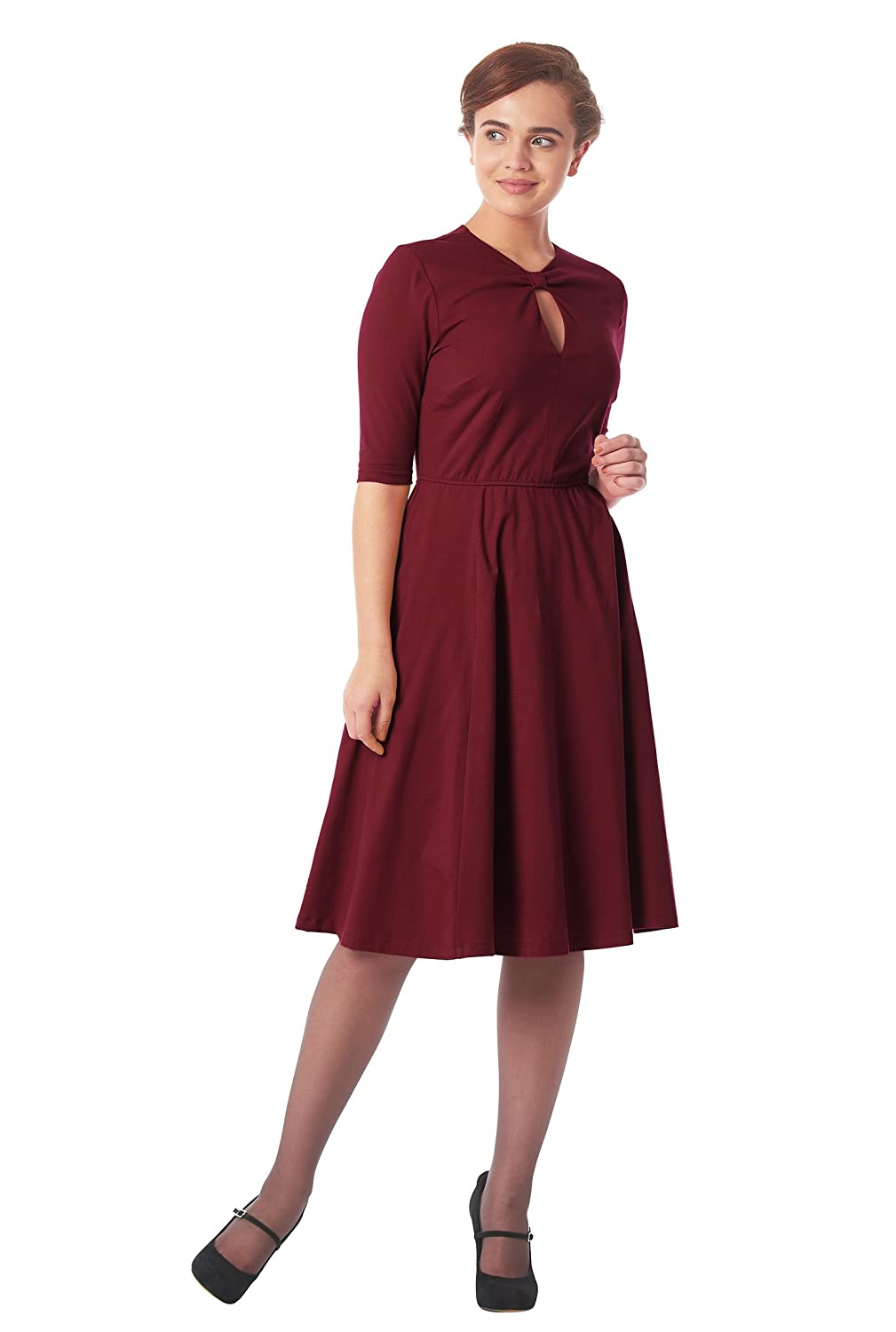 1940s Style Dresses and Clothing eShakti Womens Keyhole front cotton knit dress $56.95 AT vintagedancer.com