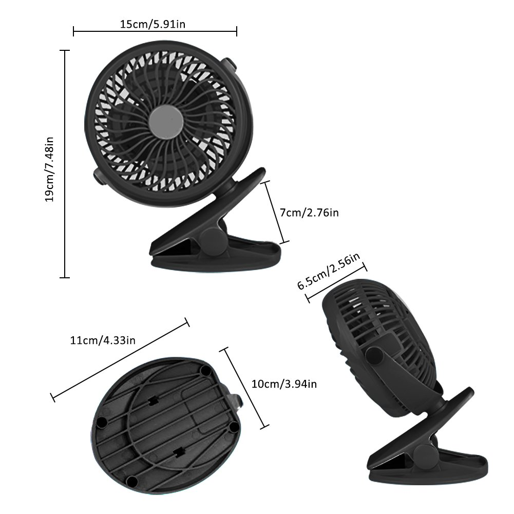 Per USB Rechargeable Mini Fan With Clip 5.91In Desk Fans 360° Rotation Adjustable Wind Speed For Home Office Stroller Portable-With 2600mAh Battery by Per (Image #7)
