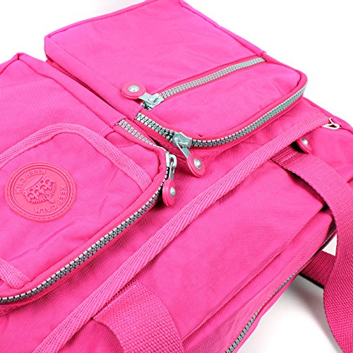 Multi Pockets Strap Ladies With Lightweight Multiuple Shoulder Fabric Blue Bag Holdall Zip Aossta Handbag Shoulder Duffel Nylon ZqRxStwSY