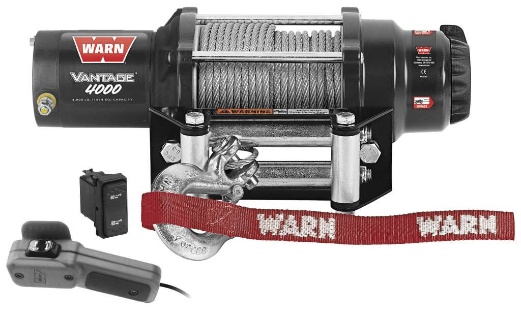 New Warn Vantage 4000 lb Winch With Model Specific Mounting Hardware - 2009-2013 Kawasaki Teryx 750 4x4 Sport UTV