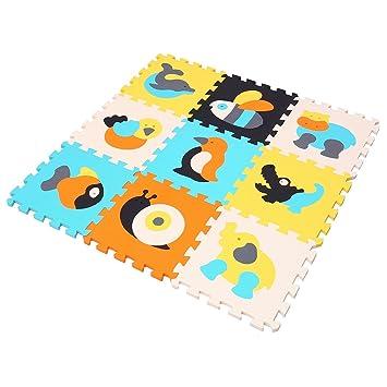 MQIAOHAM 9 piezas rompecabezas ejercicio patrón animal colchonetas de espuma para niños pequeños suelo de yoga alfombra manta playmats seguridad ...