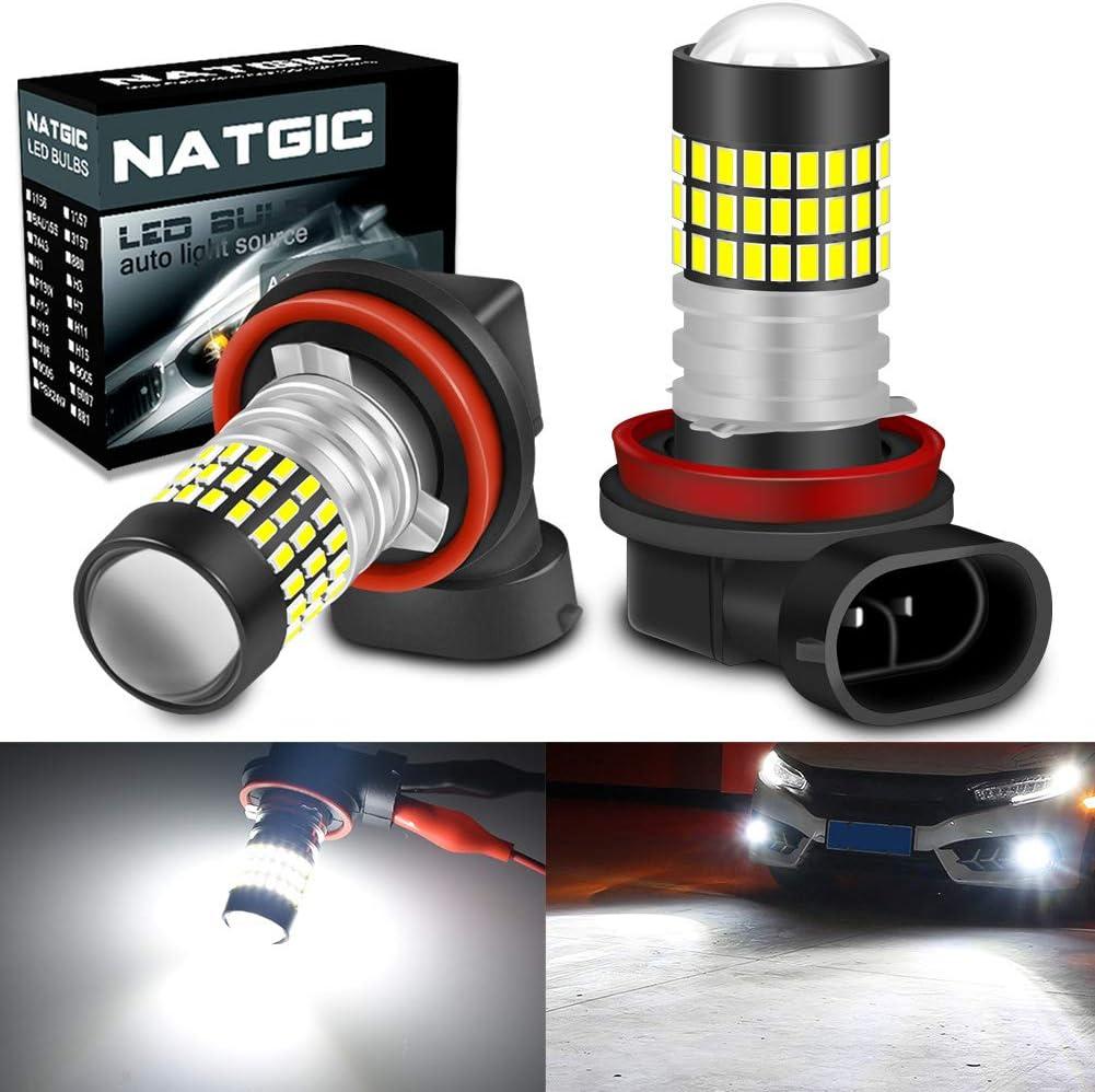NATGIC H11 H8 H9 Bombillas LED Xenon blanco 1800LM 3014SMD Chipsets 78-EX con lente para proyector de luz de niebla Luz diurna, 6500K, 12-24V (paquete de 2)