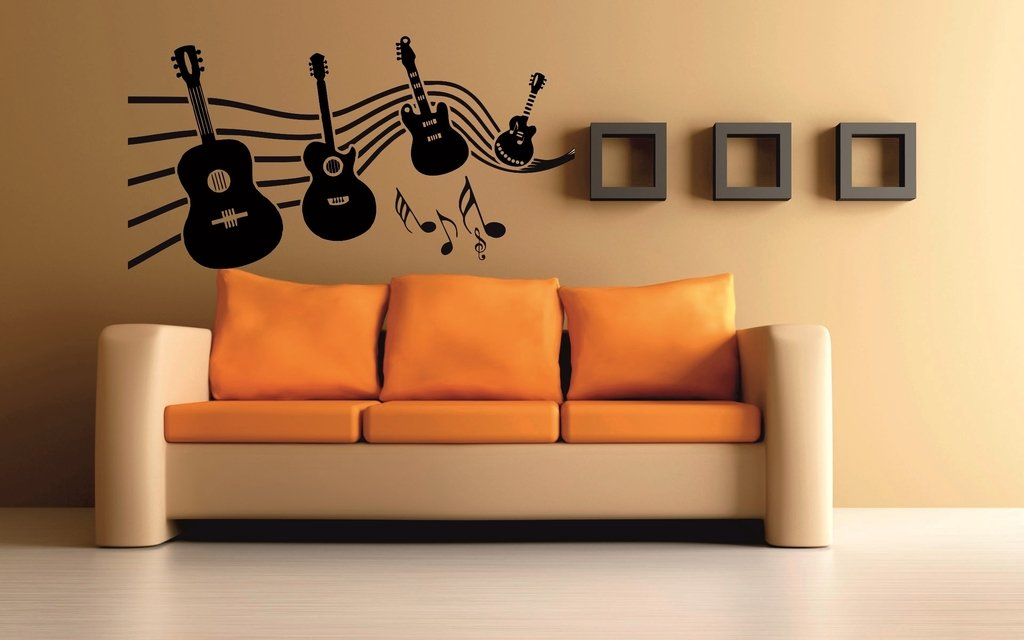 Mesleep Music Of Guitar Wall Sticker Vinyl 37 Cm X 7 Cm X 6 Cm