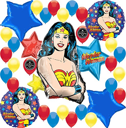 Wonder Woman Birthday Balloon Decorations Bundle For (XL BALLOON KIT) -