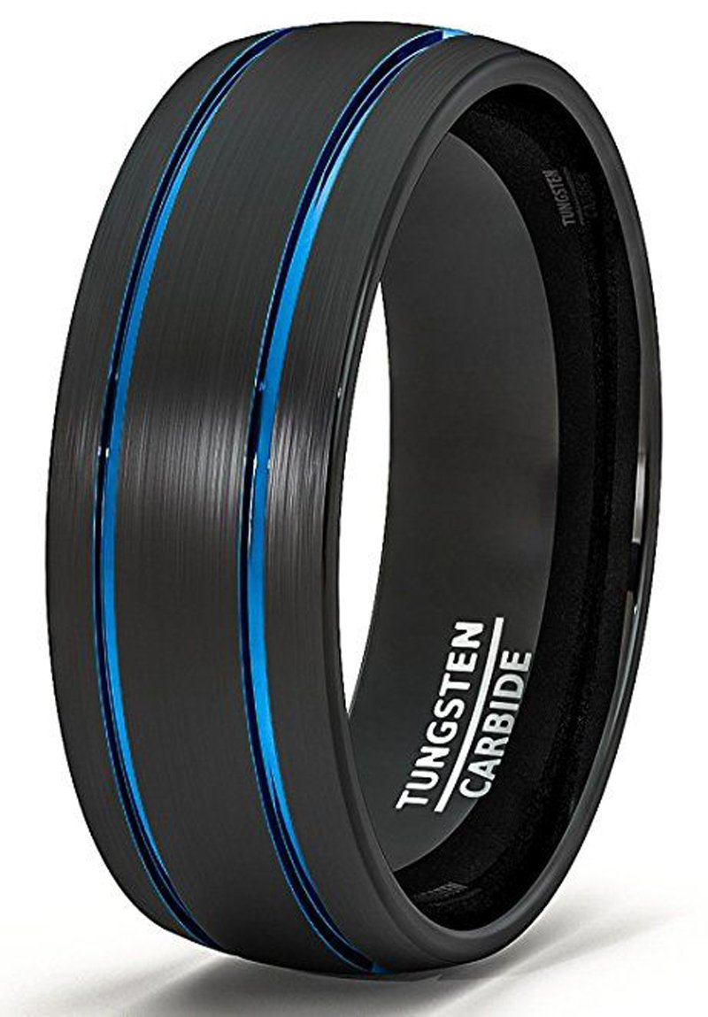 Makiing up Two Blue Lines Black Tungsten Carbide Ring Brushed Dome Top Band - 8MM