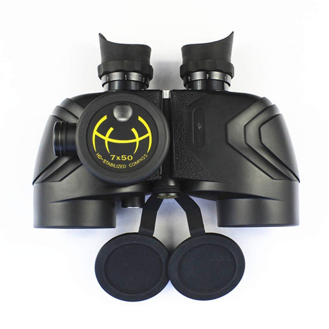 JULYFELICIA Binoculars 7x50 HD Binoculars with Compass Waterproof Nautical Telescope for Outdoor Use (Color : Black)