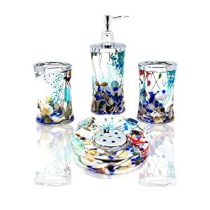 ADUTY 4 Piece Bathroom Accessories Complete Set Acrylic Ocean Series Bathroom Organizer with Blue Glass and Sea Shell AD001