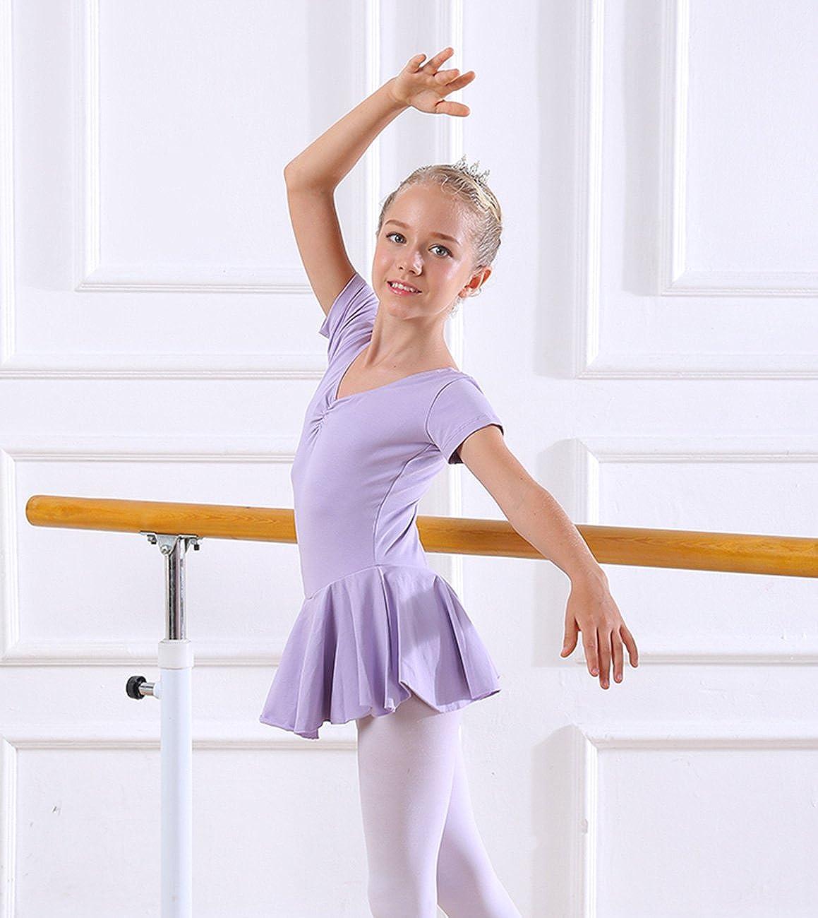 FEOYA Girls Skirted Leotard For Ballet Dance Short Sleeve