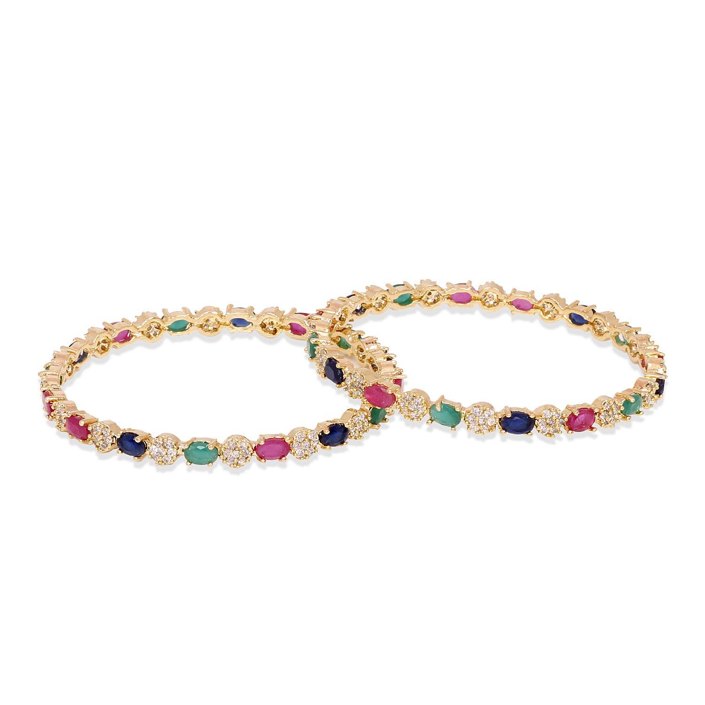 Ratna Gorgeous American Diamond Gold Tone Diamond Style Designer Indian Beautiful Bangles Jewelry (2.6)