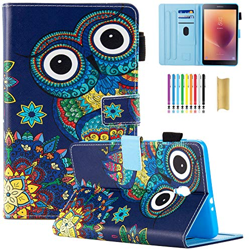SM-T380/SM-T385 Case, Dteck Pretty Folio Flip Smart Case with [Auto Sleep Wake] PU Leather Protective Pocket Stand Cover for Samsung Galaxy Tab A 8.0 Inch 2017 Model Tablet-Cute Owl (Samsung Galaxy Note 2 Covers Owls)