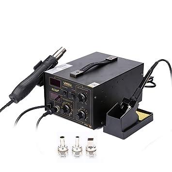 Hengda Estación de Soldadora de Aire Caliente 852D 700W 2 en 1 SMD Digital Estación de Soldadura Profesional 100-480℃ Pantalla LED, 3 boquillas,Función ...